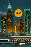 Charlotte, North Carolina - Retro Skyline (no text) Prints by  Lantern Press