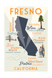 Fresno, California - Typography and Icons Posters by  Lantern Press