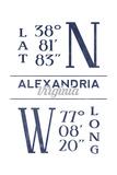Alexandria, Virginia - Latitude and Longitude (Blue) Prints by  Lantern Press