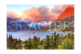 Glacier National Park, Montana - St. Mary Lake and Sunset Poster by  Lantern Press