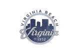 Virginia Beach, Virginia - Skyline Seal (Blue) Print by  Lantern Press