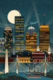 Boston, Massachusetts - Retro Skyline (no text) Art by  Lantern Press