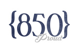 Tallahassee, Florida - 850 Area Code (Blue) Art by  Lantern Press