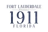 Fort Lauderdale, Florida - Established Date (Blue) Art by  Lantern Press