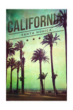 Santa Monica, California - Boardwalk and Palms Print by  Lantern Press