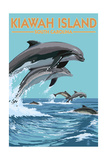 Kiawah Island, South Carolina - Dolphins Jumping Posters by  Lantern Press