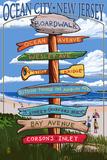 Ocean City, New Jersey - Destination Signpost Prints by  Lantern Press