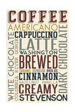 Stevenson, Washington - Coffee - Typography Posters by  Lantern Press