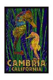 Cambria, California, Seahorses - Paper Mosaic Prints by  Lantern Press