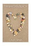 Manhattan Beach, California - Stone Heart on Sand Prints by  Lantern Press