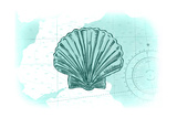 Scallop Shell - Teal - Coastal Icon Poster af  Lantern Press