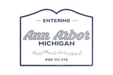 Ann Arbor, Michigan - Now Entering (Blue) Print by  Lantern Press
