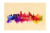 Miami, Florida - Skyline Abstract Art by  Lantern Press
