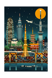 Tokyo, Japan - Retro Skyline (no text) Poster par  Lantern Press