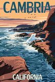 Cambria, California - Waves Crashing on Rocks Posters by  Lantern Press