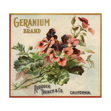 Geranium Brand - California - Citrus Crate Label Prints by  Lantern Press