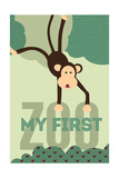My First Zoo - Monkey - Green Prints by  Lantern Press