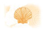 Scallop Shell - Yellow - Coastal Icon Plakater af Lantern Press