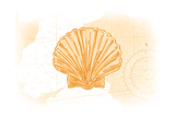 Scallop Shell - Yellow - Coastal Icon Reprodukcje autor Lantern Press