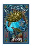 St. Thomas, U.S. Virgin Islands - Sea Turtle Art Nouveau Posters by  Lantern Press
