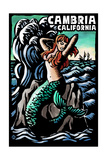 Cambria, California - Mermaid - Scratchboard Poster by  Lantern Press