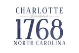Charlotte, North Carolina - Established Date (Blue) Prints by  Lantern Press