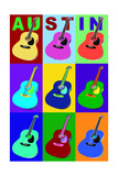 Austin, Texas - Acoustic Guitar Pop Art Prints by  Lantern Press