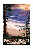 Pacific Beach, Washington - Sunset Beach and Surfers Art by  Lantern Press