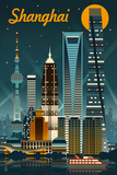 Shanghai, China - Retro Skyline Lámina giclée prémium por  Lantern Press