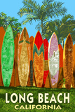 Long Beach, California - Surfboard Fence Posters by  Lantern Press