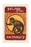 Year of the Monkey - Woodblock Prints by  Lantern Press