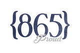 Chattanooga, Tennessee - 865 Area Code (Blue) Art by  Lantern Press