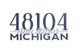 Ann Arbor, Michigan - 48104 Zip Code (Blue) Prints by  Lantern Press
