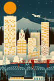 Portland, Oregon - Retro Skyline (no text) Prints by  Lantern Press