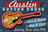 Austin, Texas - Guitar Shack Vintage Sign Print by  Lantern Press