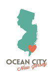 Ocean City, New Jersey - State Outline and Heart Posters by  Lantern Press