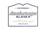 Anchorage, Alaska - Now Entering (Blue) Art by  Lantern Press