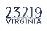 Richmond, Virginia - 23219 Zip Code (Blue) Prints by  Lantern Press