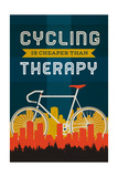 Cycling is Cheaper than Therapy - Screenprint Style Prints by  Lantern Press