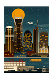 Retro Skyline - Nashville, Tennessee (no text) Posters by  Lantern Press