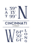 Cincinnati, Ohio - Latitude and Longitude (Blue) Poster by  Lantern Press