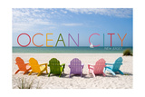 Ocean City, New Jersey - Colorful Beach Chairs Posters by  Lantern Press