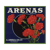 Arenas Brand - Los Angeles, California - Citrus Crate Label Posters by  Lantern Press