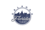 Orlando, Florida - Skyline Seal (Blue) Print by  Lantern Press