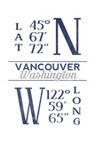 Vancouver, Washington - Latitude and Longitude (Blue) Prints by  Lantern Press