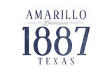 Amarillo, Texas - Established Date (Blue) Print by  Lantern Press