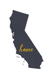 California - Home State - Gray on White Prints by  Lantern Press