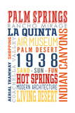 Palm Springs, California - Typography (Multi-Color) Prints by  Lantern Press