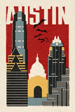 Austin, Texas - Woodblock Prints by  Lantern Press