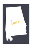 Alabama - Home State- White on Gray Print by  Lantern Press